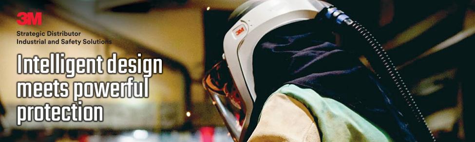 man wearing 3m versaflow respirator
