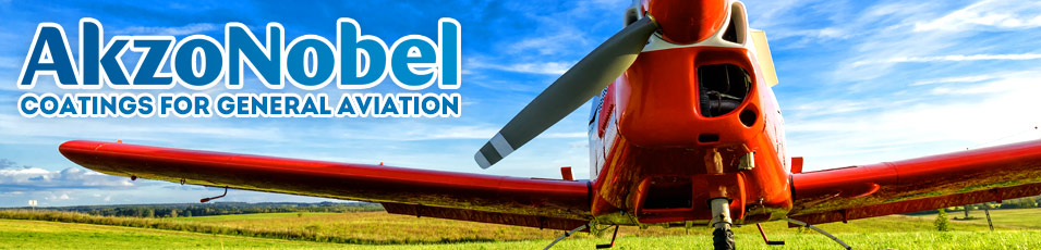 The AkzoNobel logo on top of a colorful photo of a propeller-based aircraft in a field.