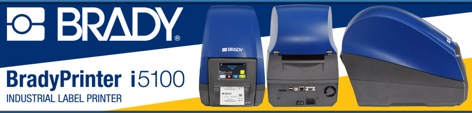 Brady Printer i5100 Industrial Label Printer header image showing a photo of the interior of the i7100.