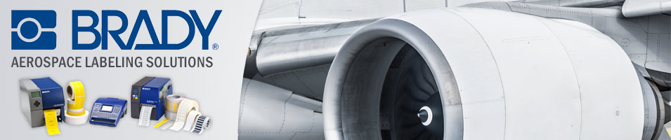 The left third of the header image contains the Brady logo on a gradient gray background with aerospace labeling solutions text and product photos beneath. The right two-thirds of the header image contains a close up photo of an aircraft engine.