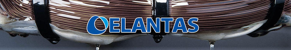 Elantas logo overlaid on a photo of copper wire being insulated.