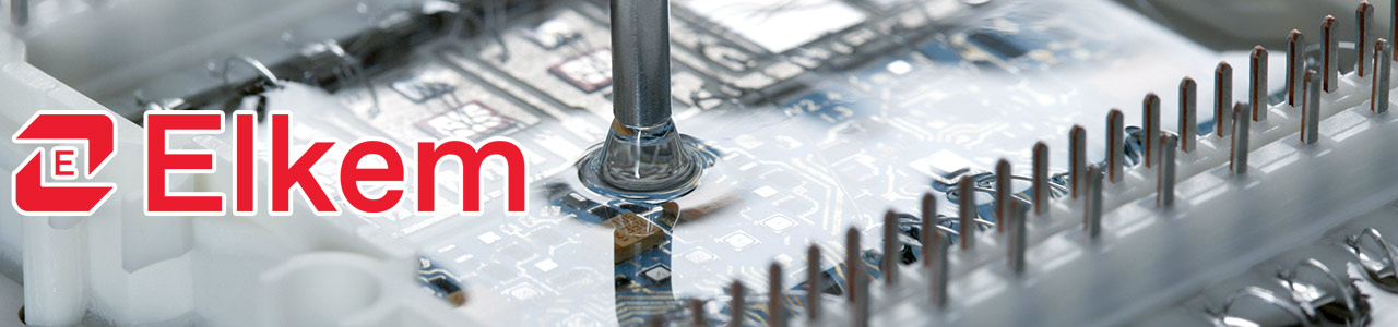 Elkem logo layered over a photo of siicone being applied to a circuit board.