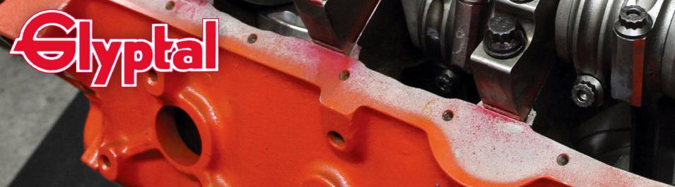 Glyptal logo with background image of coated engine block