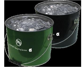 buckets of reusable materials