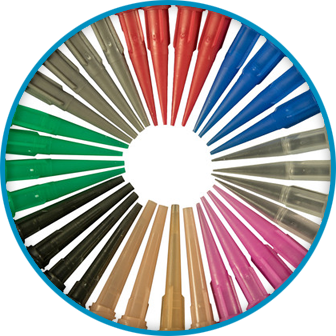 Picture of different colored dispensing tips