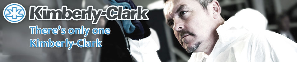 Photo of a man cleaning a car with the Kimberly-Clark logo and text overlaid. The text reads, There's only one Kimberly-Clark.