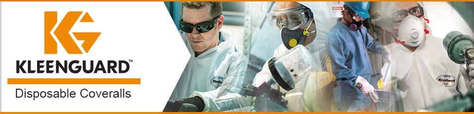 Photo of people in various occupations wearing Kleenguard Coveralls with Kleenguard logo and text overlaid.