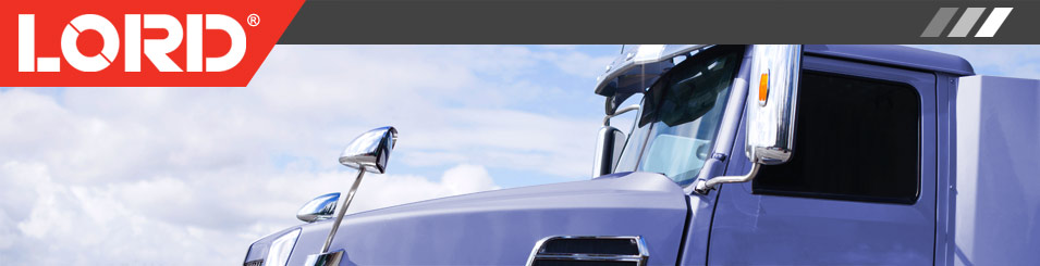 LORD Logo on top of a photo of a purple semi truck cab.