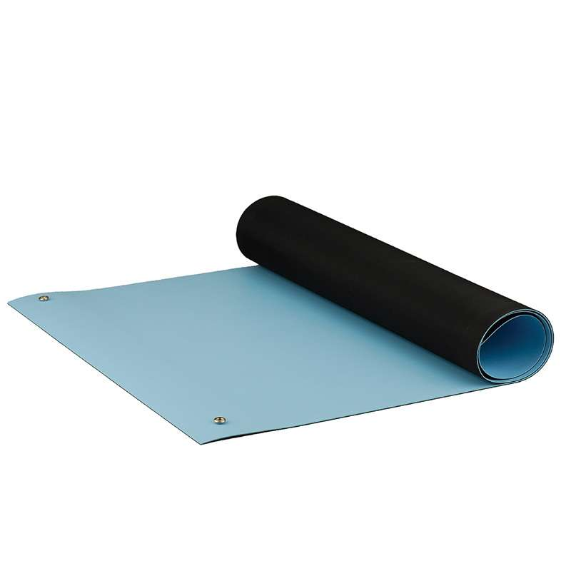 """Dualmat™ 2-Layer Diss/Cond Rubber Worktop Mat with Two Snaps, Light Blue/Black, 24"""" x 36"""" x .080"""""""