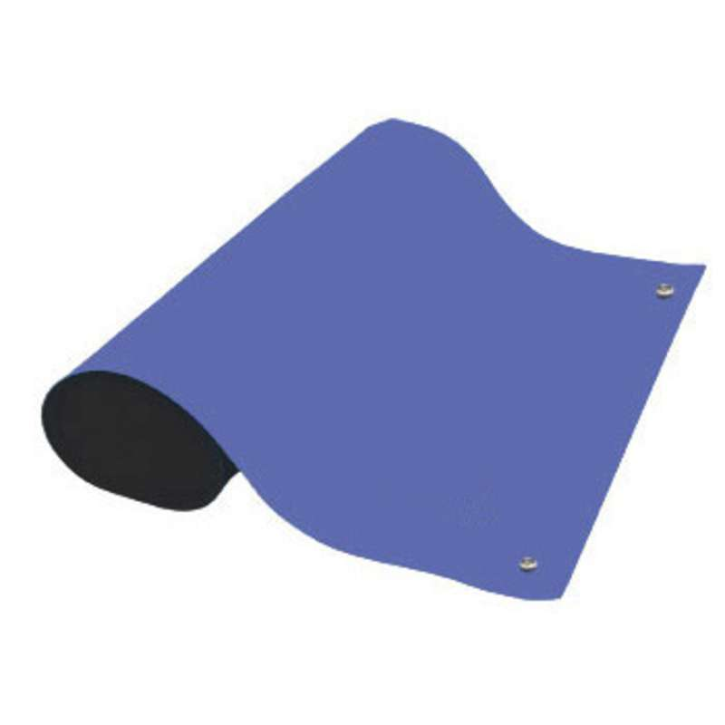 """Dualmat® 2-Layer Dissipative/Conductive Rubber Worktop Mat with Two Snaps, Royal Blue/Black, 24 x 60 x .080"""""""