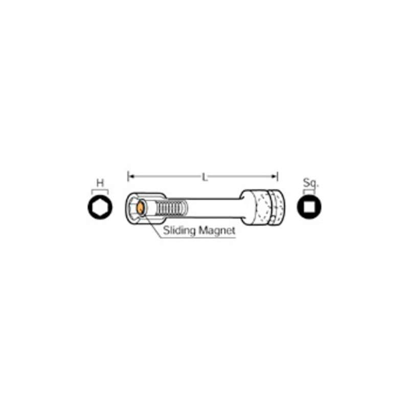 "Sliding Magnetic Socket Extension Bar for 3/8"" Square Drive, 6"" Long"