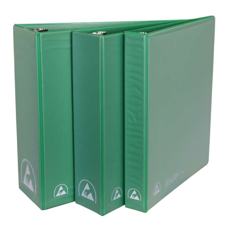 """ESD-Safe 3-Ring Binder with 2"""" Ring Size, Green"""
