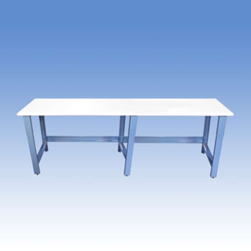 """Adjustable Height ESD-Safe Workbench with 1000 lb Weight Capacity, Rolled Front Edge and Glides, 24 x 120"""""""