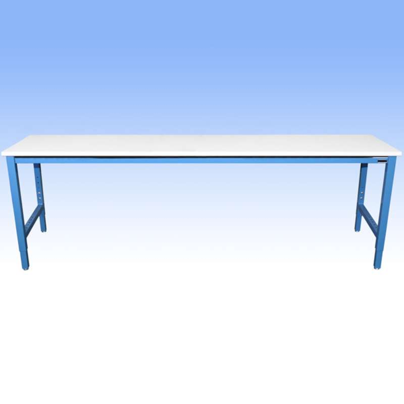"""Non-ESD-Safe Adjustable Height Heavy Duty Workbench with 5000 lb Weight Capacity, Rolled Front Edge and Glides, White, 36 x 96"""""""