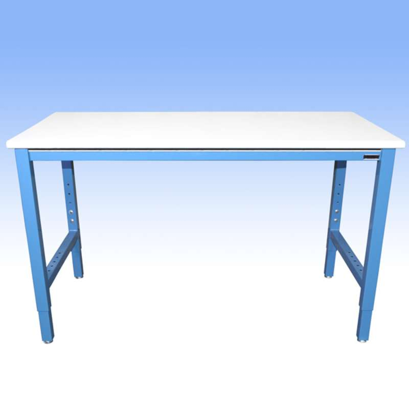 """Non-ESD-Safe Adjustable Height Heavy Duty Workbench with 5000 lb Weight Capacity, Rolled Front Edge and Glides, White, 24 x 48"""""""