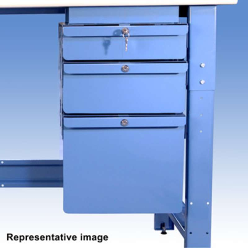 """Triple Stacked 2""""/6""""/6"""" Steel Drawers, 14"""" Overall"""
