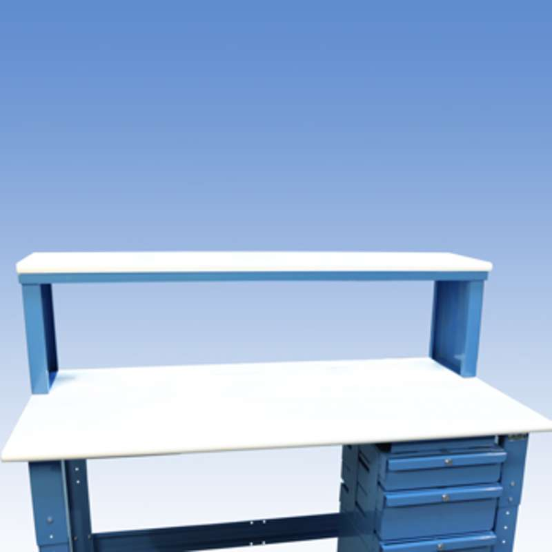 "Instrument Shelf 13 x 72"" Blue Painted Frame, ESD-Safe White Laminate Top"