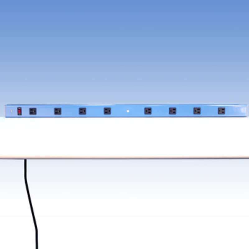 """Aluminum Power Strip with 8 outlets for 72"""" Benches without Uprights, 63-1/2"""" Long"""