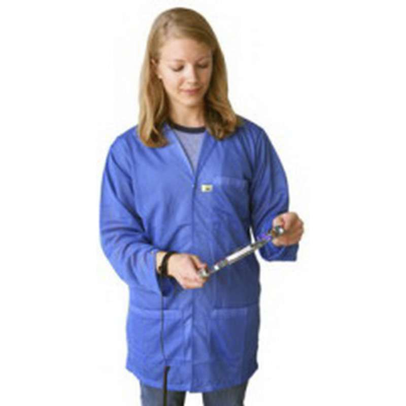 """ESD-Safe Lightweight 3/4 Length Lab Coat with Snap Cuffs and Three Pockets, Blue, 4X-Large, 31"""" Long"""