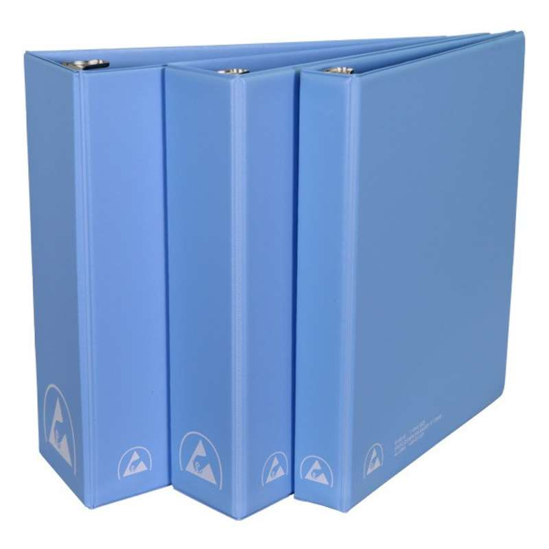 """ESD-Safe 3-Ring Binder with 3"""" Ring Size, Blue"""