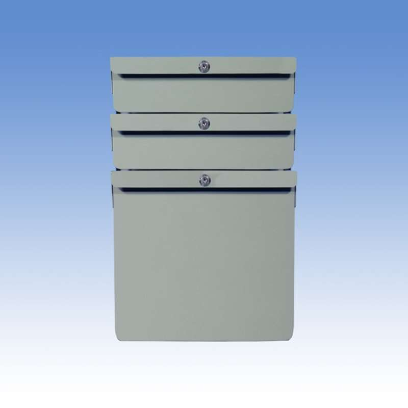"""Triple Stacked 2""""/2""""/12"""" Steel Drawers for Chemical Resistant Benches, Grey"""