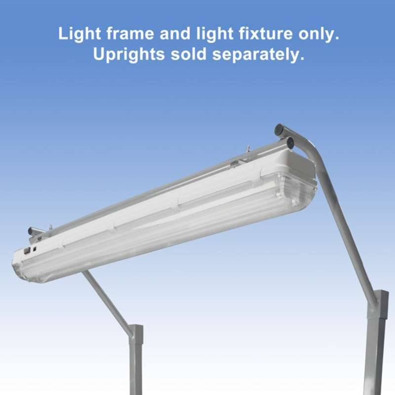 """Overhead Sealed Fluorescent Light Fixture and Light Frame with T8 Bulbs for 60"""" or 120"""" Chemical Resistant Benches, Grey"""