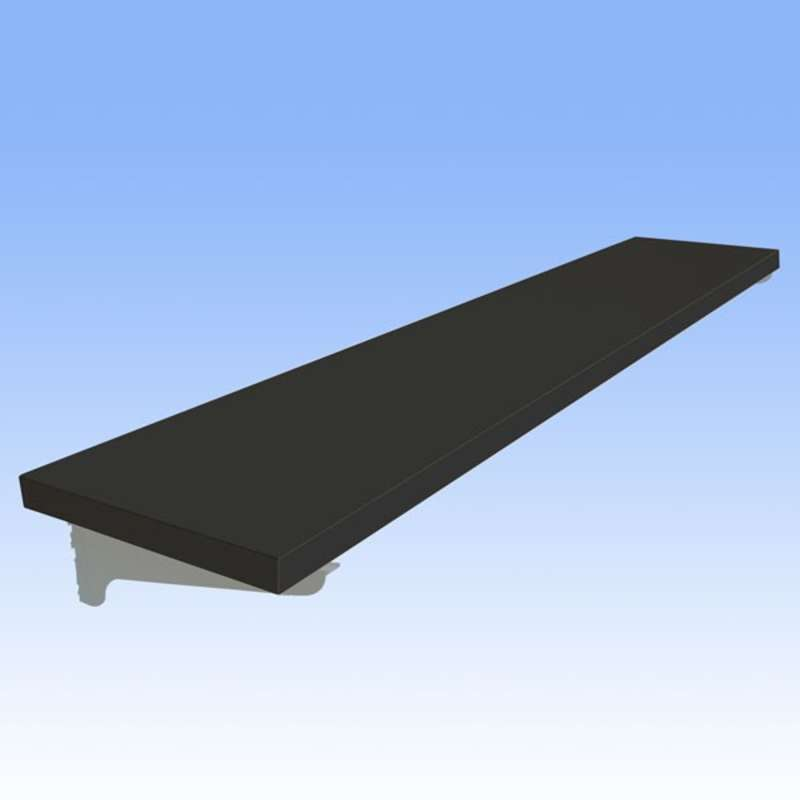 """Adjustable Chemical Resistant Phenolic Resin Shelf for All-Spec Heavy Duty Benches, Black, 12 x 72"""""""