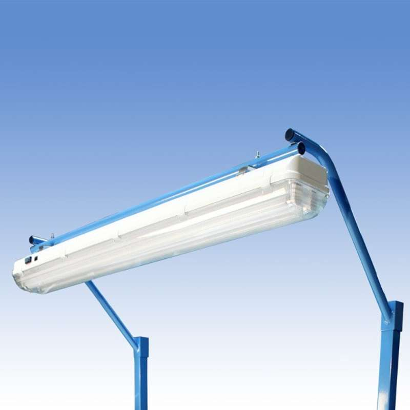 """Overhead Sealed Fluorescent Light Fixture and Light Frame with T8 Bulbs for 60"""" or 120"""" Heavy Duty Benches, Blue"""