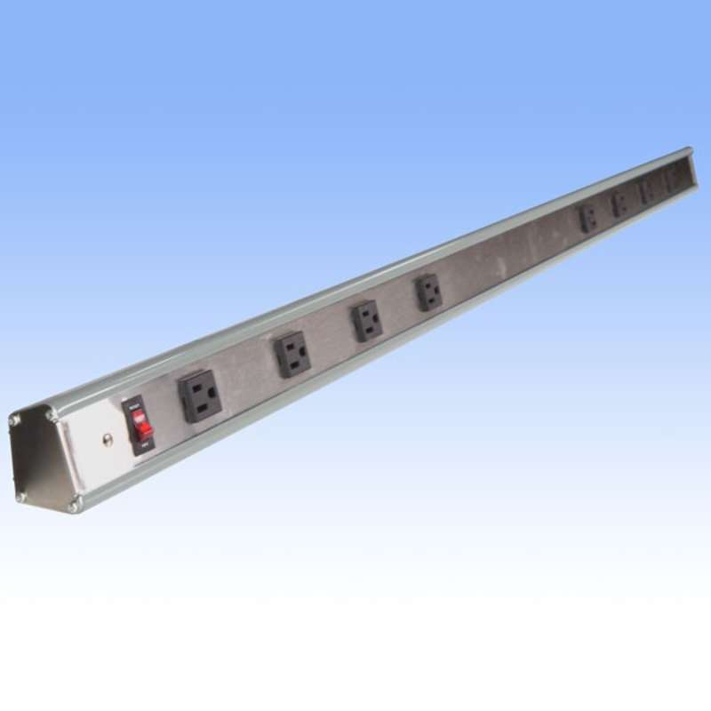 """Stainless Steel and Aluminum Power Strip for All-Spec Heavy-Duty Chemical Resistant Benches, Grey, 72"""" Long"""