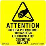 "Label, Yellow/Black 2"" x 2"" 1000 per Roll ""Attention Observe Precautions"""