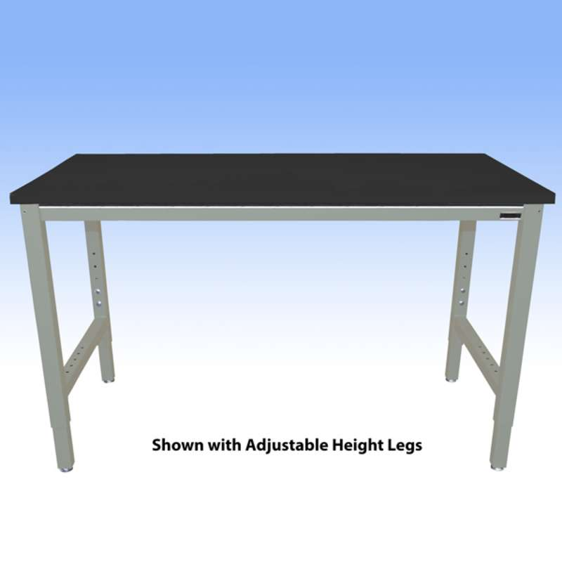 """Fixed Height Heavy Duty Chemical Resistant Phenolic Resin Top Workbench with 5000 lb Weight Capacity, Square Edges and Glides, Black, 30 x 72"""" (Must Specify Height)"""