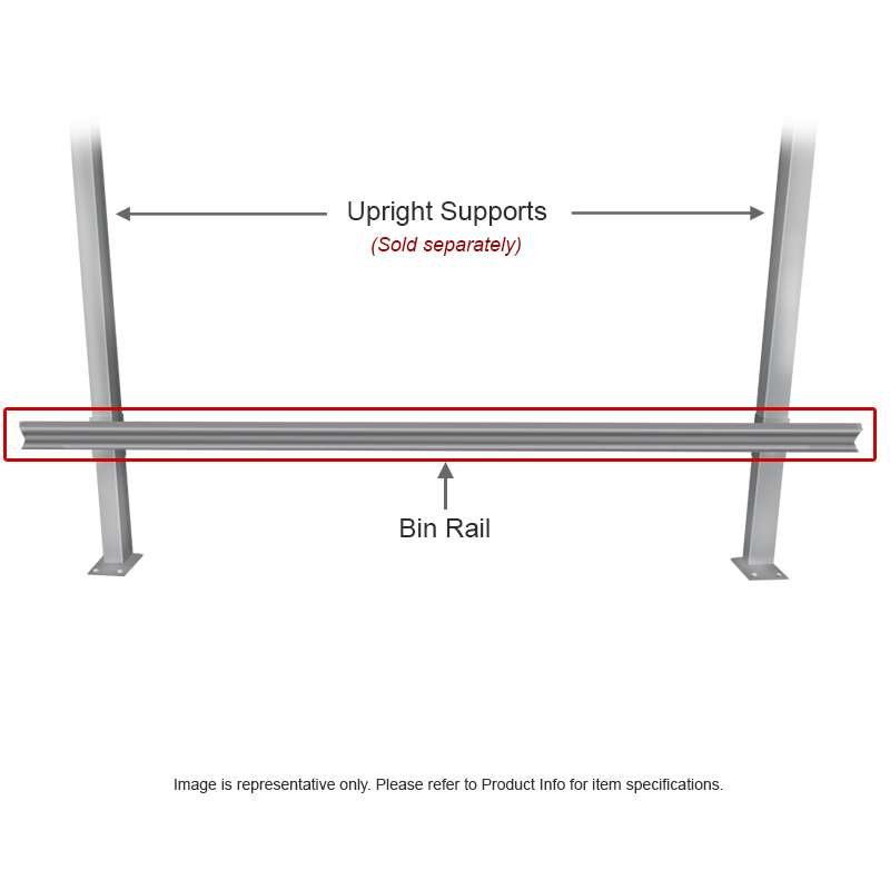 """Bin Rail for 48"""" and 96"""" Chemical Resistant Benches, Grey"""