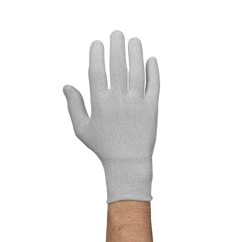 ESD-Safe Low Lint Knit Nylon Gloves, Gray, 2X-Large, 1-Pair