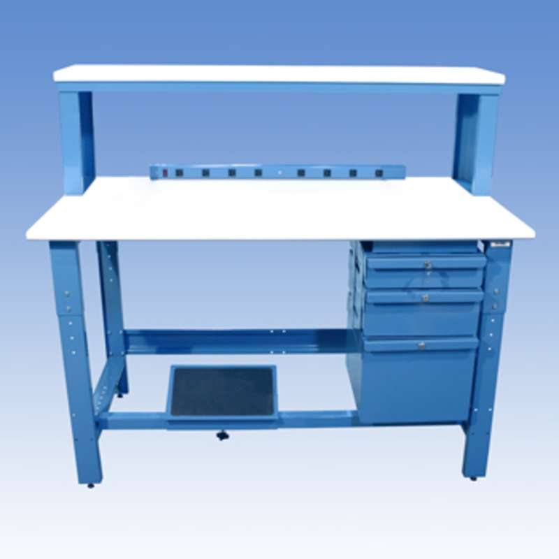 Adjustable Height ESD-Safe Workbench with 1000 lb Weight Capacity, Rolled Front Edge, Instrument Shelf and Accessories, 30 x 60