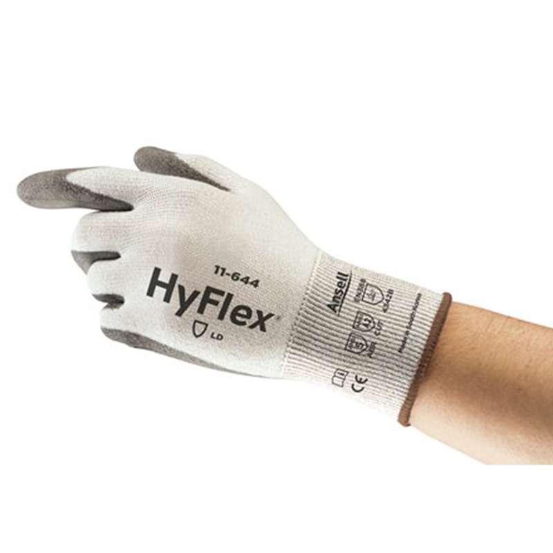 "HyFlex® Polyethylene Powder Free Palm Coated Grey 13 Gauge Polyurethane Glove, Large, 9"" Long, 12-Pair per Bag"
