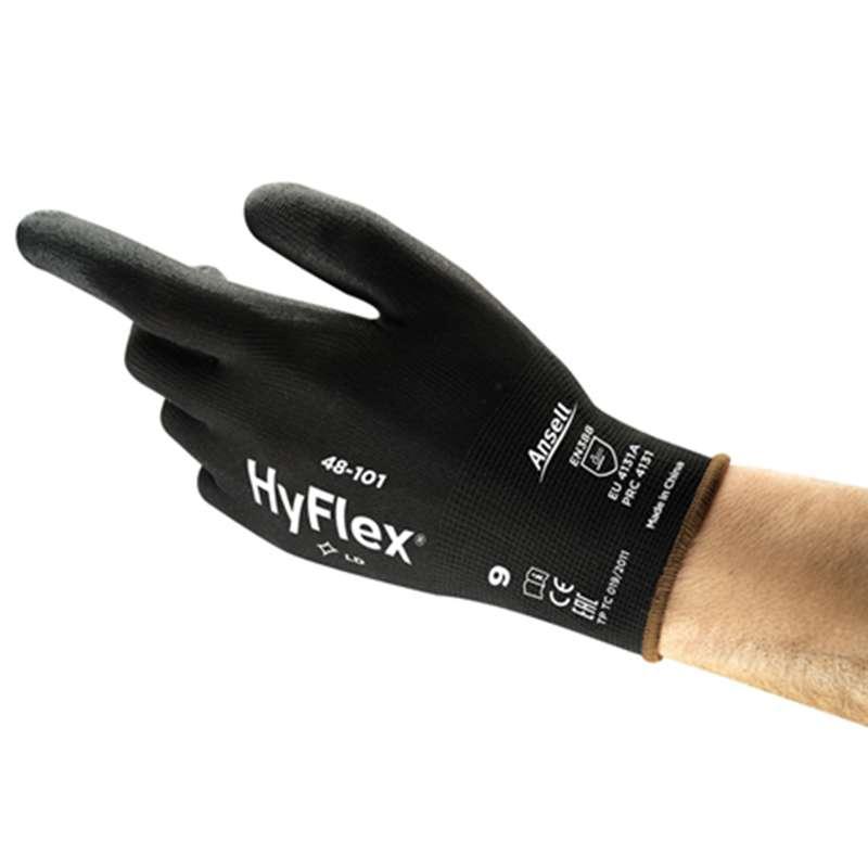 "SensiLite® Palm Coated Black 13 Gauge Polyurethane Nylon Glove, Medium, 9"" Long, 12-Pair per Bag"