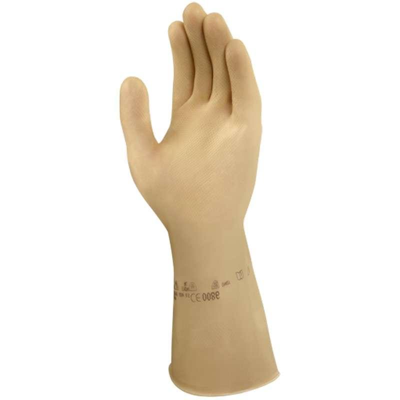"Marigold® Featherweight Plus Natural Color 15mil Latex Glove, X-Large, 13"" Long, 12-Pair per Bag"