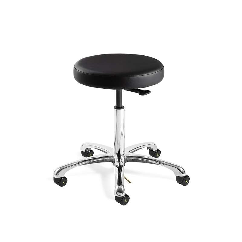Versa Desk Height ESD/ISO5 Cleanroom Black Vinyl Backless Stool, Polished Aluminum Base, ESD Dual Wheel Hard Floor Casters