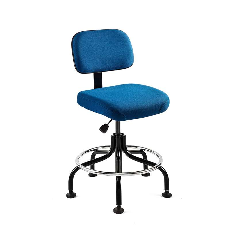 Doral Tall Height Royal Blue Fabric Chair, Non-Tilt, Black Tubular Steel Base with Welded Footring