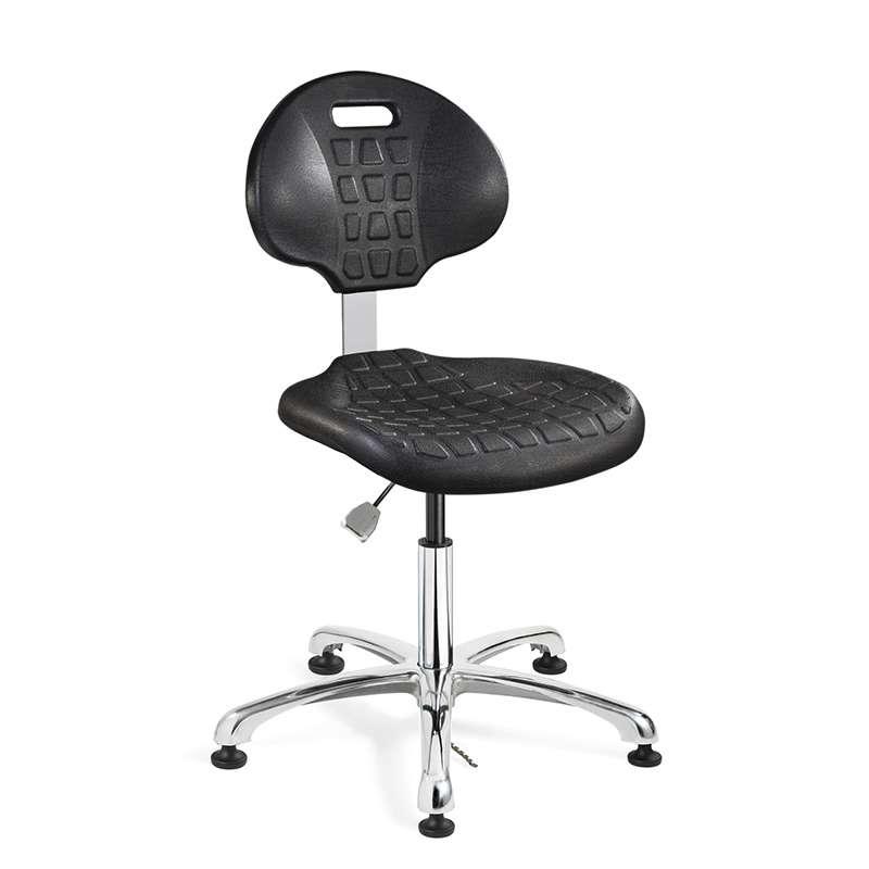 Everlast Desk Height ESD Black Polyurethane Chair, Articulating Seat & Back Tilt, Polished Aluminum Base, Dual Wheel Hard Floor Casters