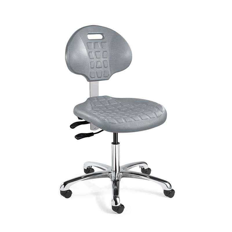 Everlast Mid Height Gray Polyurethane Chair, Independent Seat & Back Tilt, Polished Aluminum Base, Dual Wheel Hard Floor Casters