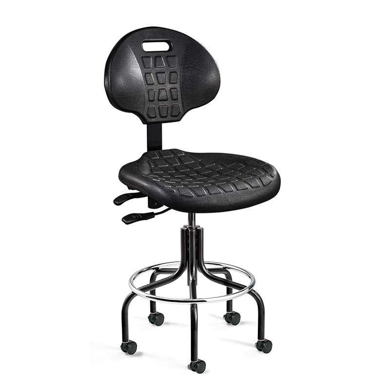 Everlast Mid Height Black Polyurethane Chair, Articulating Seat & Back Tilt, Black Tubular Steel Base with Welded Footring, Dual Wheel Hard Floor Casters