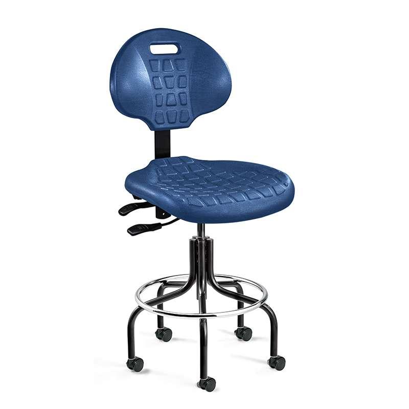 Everlast Desk Height Blue Polyurethane Chair, Articulating Seat & Back Tilt, Black Tubular Steel Base with Welded Footring, Dual Wheel Hard Floor Casters
