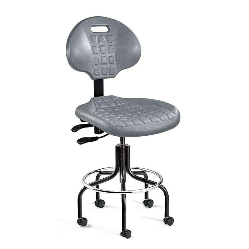 Everlast Desk Height Gray Polyurethane Chair, Articulating Seat & Back Tilt, Black Tubular Steel Base with Welded Footring, Dual Wheel Hard Floor Casters