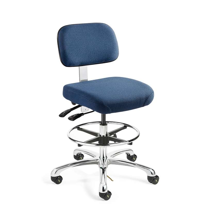Doral Tall Height ESD Navy Blue Fabric Chair, Articulating Seat & Back Tilt, Polished Aluminum Base with Adjustable Footring, ESD Dual Wheel Hard Floor Casters
