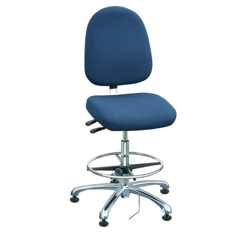 Integra Mid Height ESD Navy Blue Fabric Chair, Large Back, Articulating Seat & Back Tilt, Polished Aluminum Base with Adjustable Footring, ESD Dual Wheel Hard Floor Casters