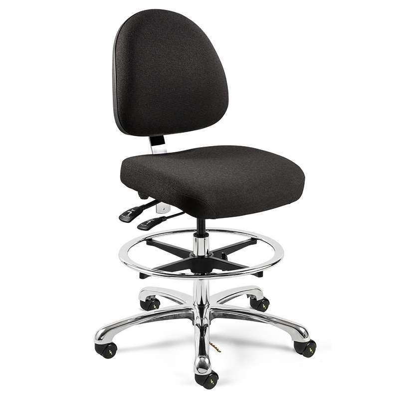"Integra ESD Upholstered Chair 20"", Medium Back, Polished Base, Mushroom Glides"