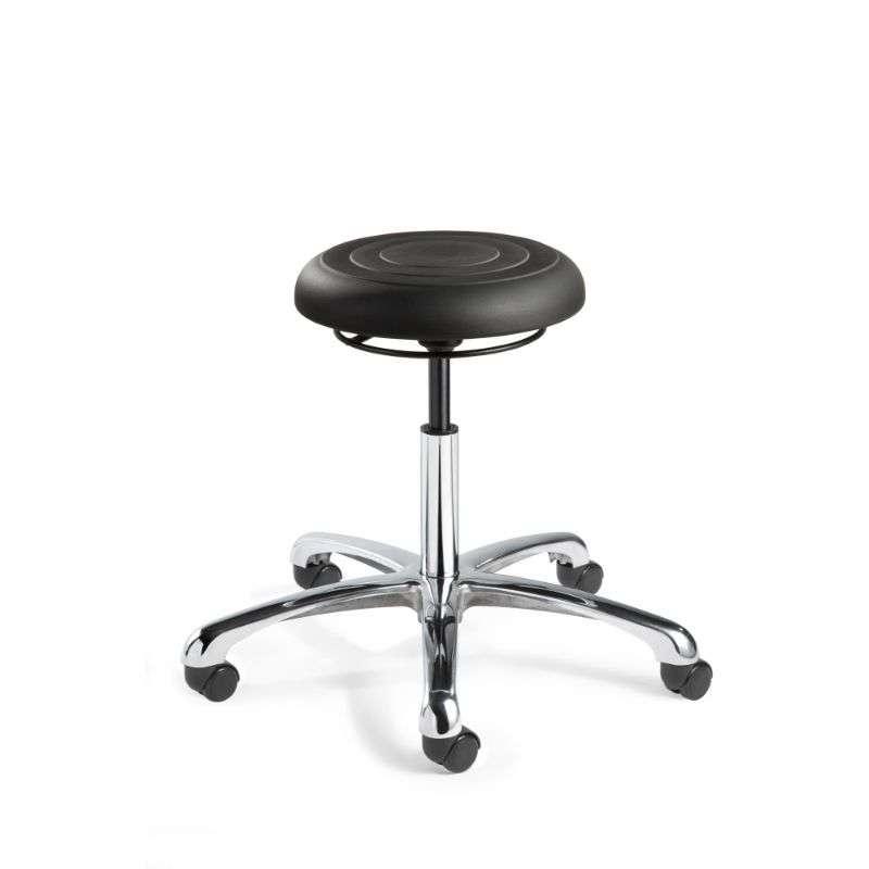 ErgoLux Jr Desk Height Soft Polyurethane Black Backless Stool, Polished Aluminum Base, Dual Wheel Hard Floor Casters