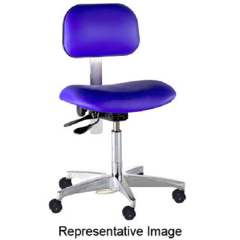 "Adjustable ESD-Safe Cleanroom Vinyl Chair with Steel Base Black, 23-28"""