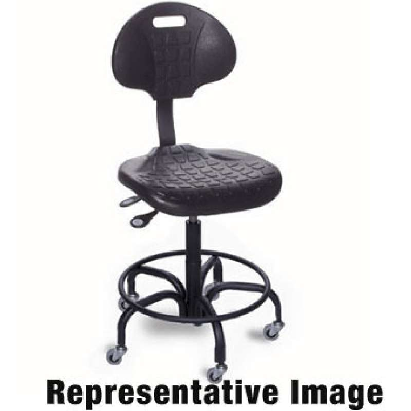 """UU Series Non-ESD-Safe Adjustable Height Black Chair with Chrome Steel Base, Footring, and Casters, 25 to 30"""""""